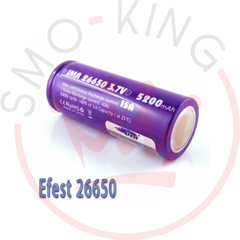 EFEST Battery 26650 5200mah 64a-Flat Top