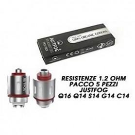Justfog Resistenze di Ricambio G14 C14 S14 Q14 Q16 Coil 1.2 Ohm 5 Pezzi