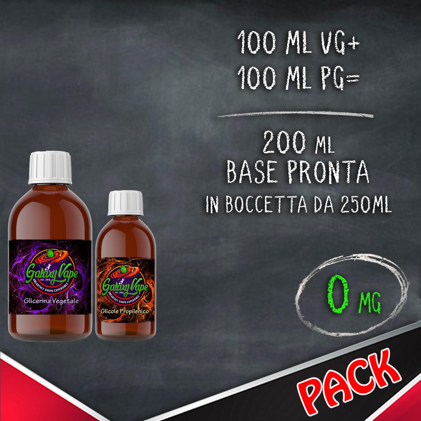 Kit Base Neutra 50/50 0 mg 200ml Galaxy Vape