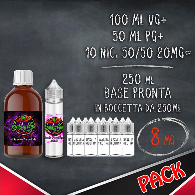 Kit Base Neutra 50/50 8 mg 250ml Galaxy Vape