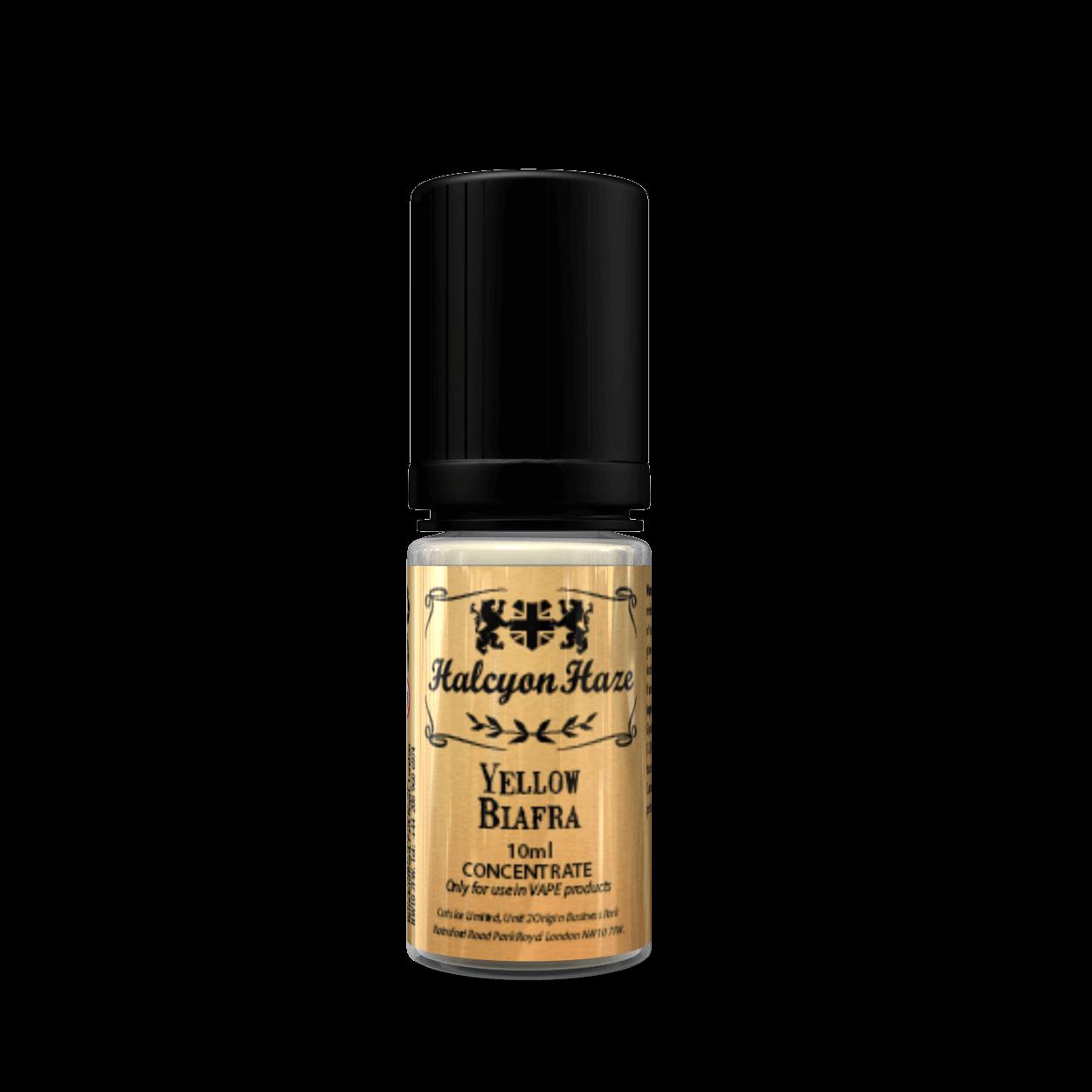 Halcyon Haze Yellow Biafra Aroma concentrato 10 ml al sapore di banana matura, sciroppo d'oro, mandorle tostate, vaniglia e zucchero filato.