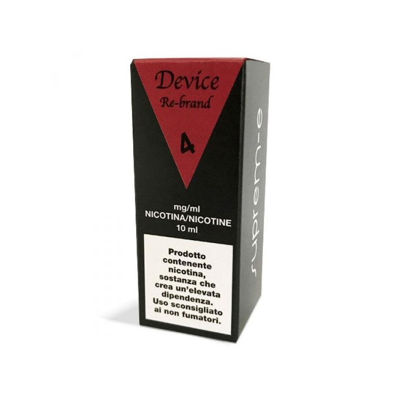 liquido pronto 10 ml suprem-e device rebrand con tabacco nocciola vaniglia ed altre numerose sfumature aromatiche