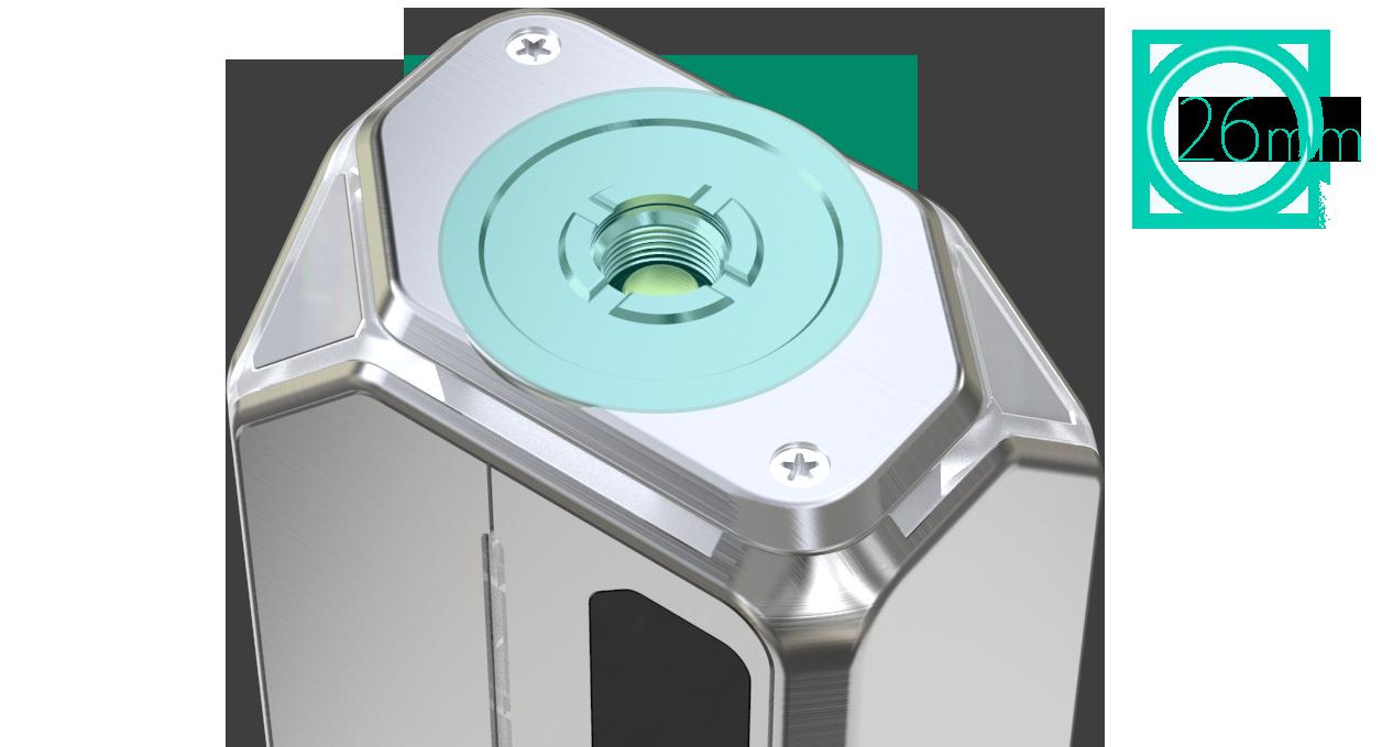 La lexicon box mod ospita atomizzatori fino a 26mm di diametro
