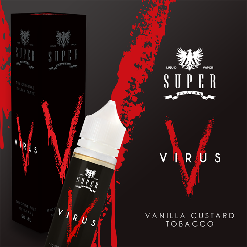 Superflavor Virus 50 ml Mix, vanilla custard e tabacco. Il liquido degli Hacker