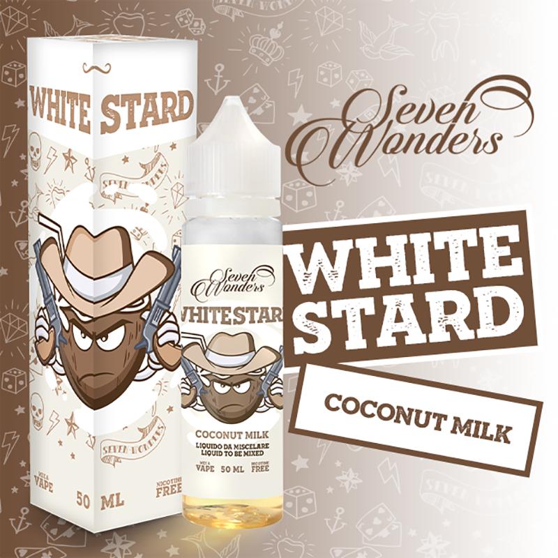 Whitestard di Seven Wonders, un liquido estivo per sigaretta elettronica al sapore di latte di cocco caraibico