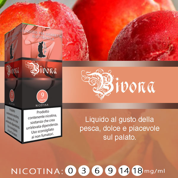 Lop Bivona 10 ml Liquido Pronto Nicotina al sapore di pesca