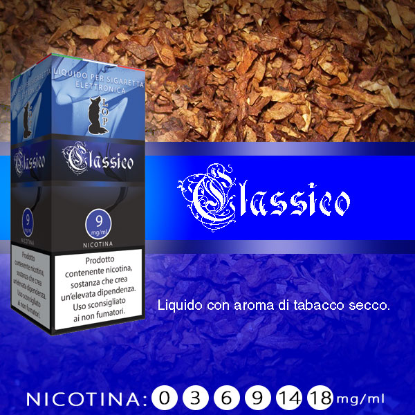 Lop Classico 10 ml Nicotine Ready Eliquid al sapore di tabacco secco