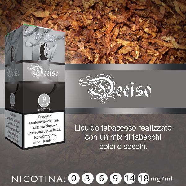 Lop Deciso 10 ml Nicotine Ready Eliquid al sapore di mix di tabacchi dolci e secchi