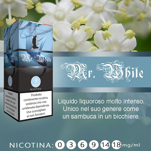 Lop Mr White 10 ml Nicotine Ready Eliquid al sapore di sambuca
