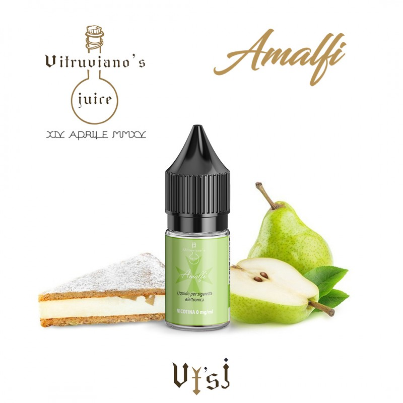 Acquista su Smo-king Shop il Liquido Pronto Vitruviano Amalfi 10 ml con nicotina al sapore di ricotta e pere